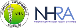 Australian Hypnotherapists Association logo and National Hypnotherapists Register of Australia logo